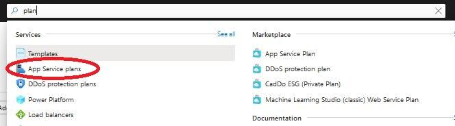 Azure - pasek wyszukiwania