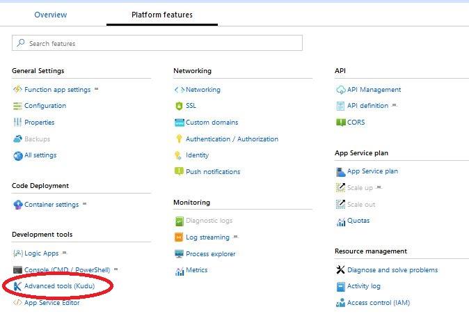 Azure Functions - Platform features - Kudu