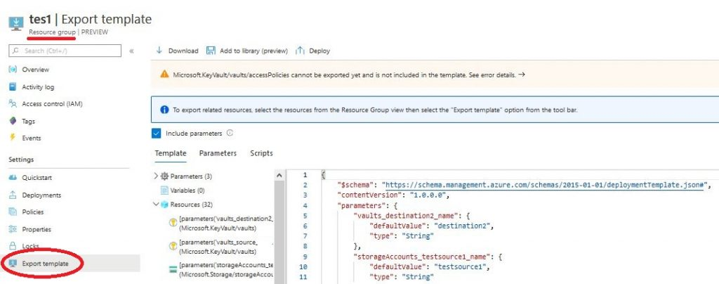 Export azure ARM Template from resource group