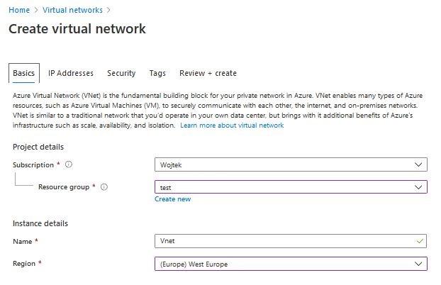 Azure Virtual network - tworzenie sieci virtualnej
