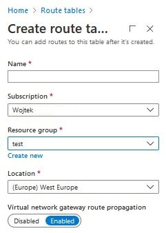 Azure create route tables