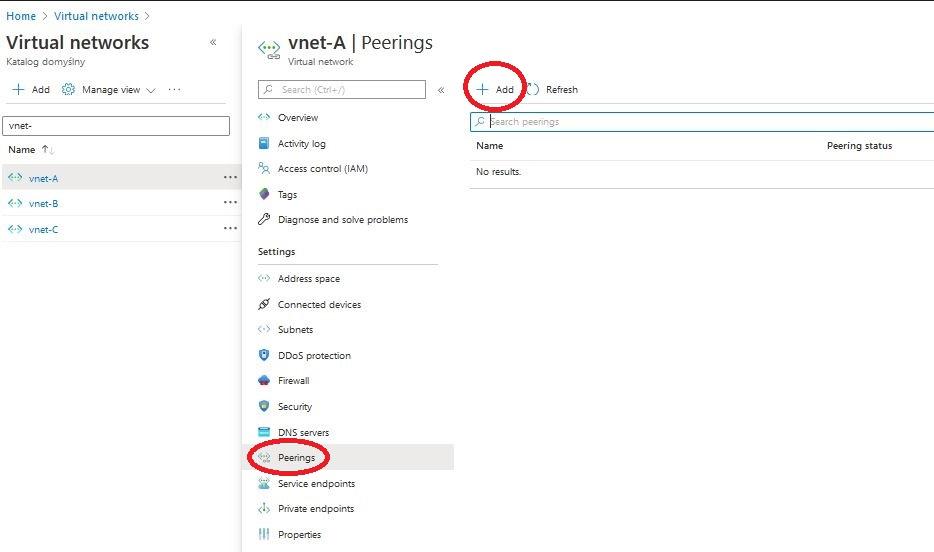 Azure add peering in Vnet