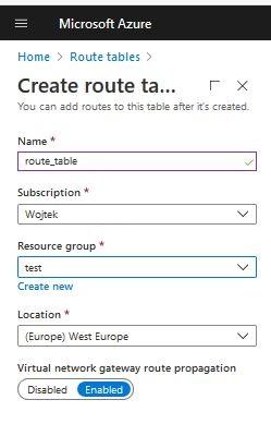 Azure Route tables panel