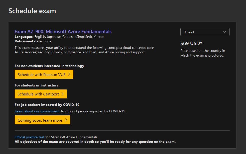 Koszt egzaminu az900 Microsoft Azure Fundamentals.