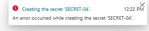 Azure creating secret error