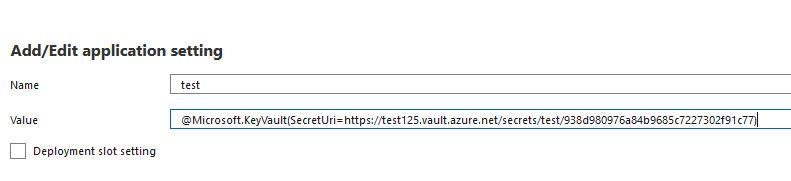 Azure App Function - configuration add KeyVault secret