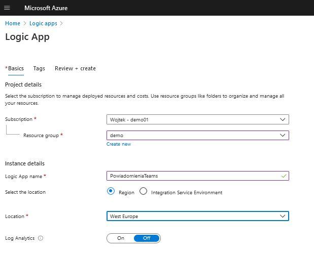 Azure create logic App