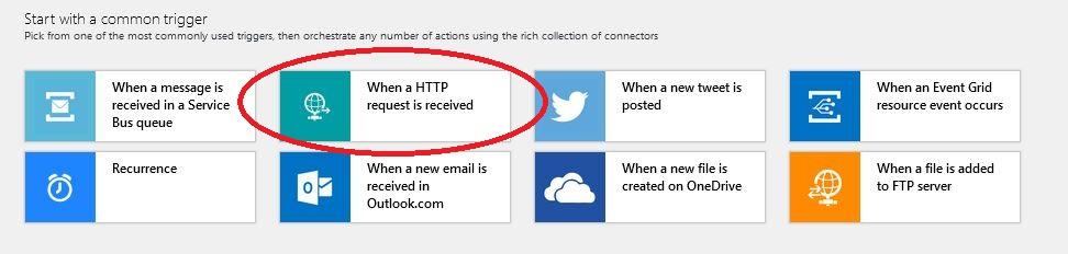 Azure logic App - chose 'When a HTTP'