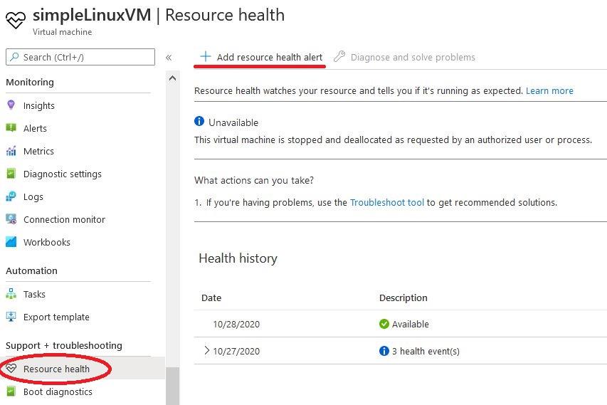 Azure resource health