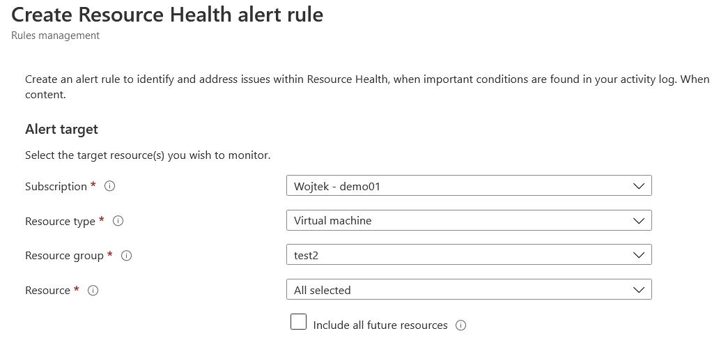 Azure resource health add alert rule