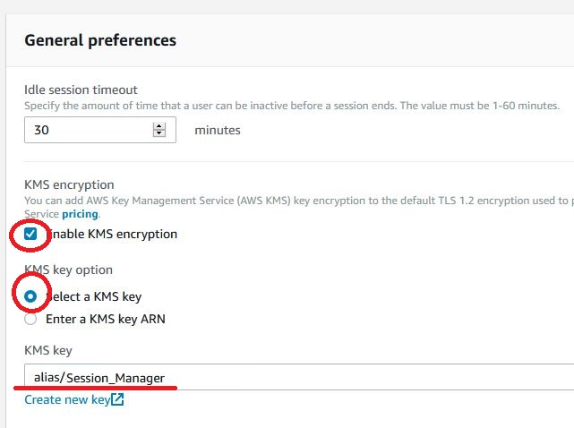 AKS - system manager - session manager - preferences