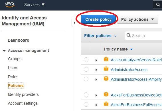 AWS - IAM - create policy