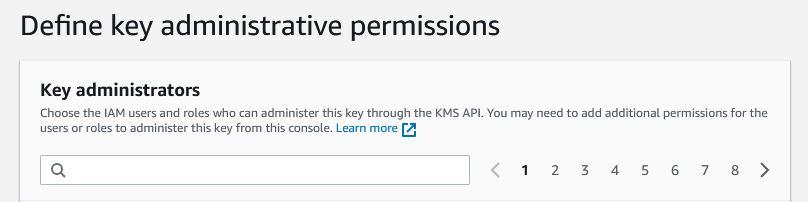 AWS - KMI create key add admin