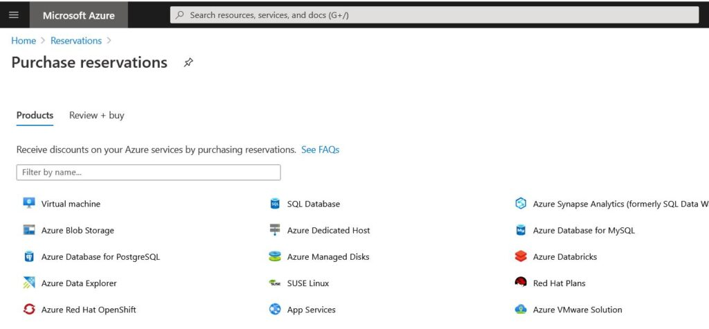 Azure Purchase reservations