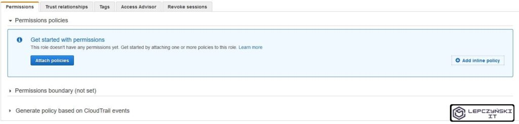 AWS cloud - add inline policy to Role