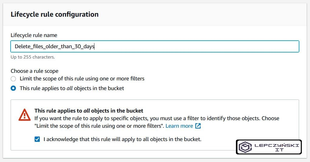 s3 - create lifecycle rule