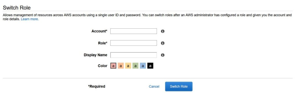 aws account- switch role